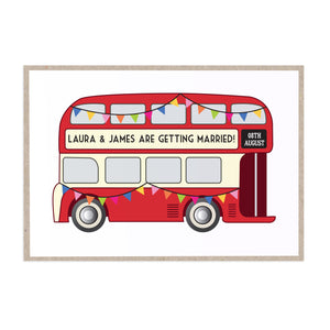 Vintage Bus Wedding Invitations, London Wedding, London Bus, Travel Wedding, 10 Pack
