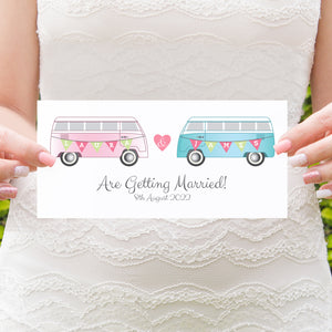 Camper Wedding Invitations, Vintage Camper Van, Campervan, Van, Surfer Wedding, 10 Pack