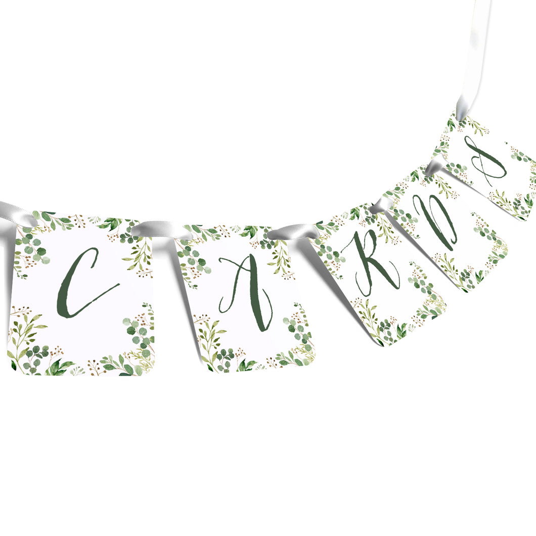 Green Leaf Cards Banner, Cards Sign, Watercolour Foliage, Greenery, Eucalyptus Invites, Green Wreath, Botanical Wedding