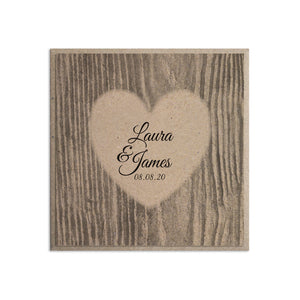 Carved Heart Wedding Invitations, Rustic Wedding Invite, Names in Bark, Eco Wedding, 10 Pack