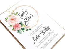 Blush Rose Baby Shower Invitations, Circle Wreath, Blush Baby Shower, Blush Flowers, Blush Ivory, 10 Pack