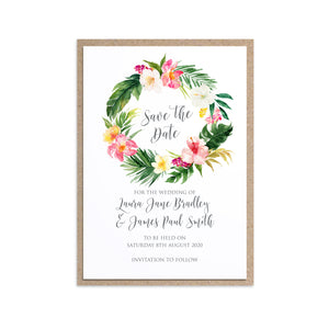 Tropical Floral Save the Date Cards, Circle Wreath, Beach Wedding, Tropical Wedding, 10 Pack