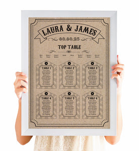Circus Ticket Table Plan, Seating Plan, Recycled Kraft, Fun Fair, Carnival Wedding, A2 Size