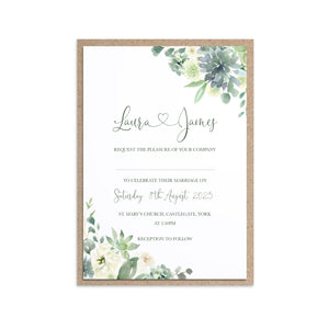 Succulent Floral Wedding Invitations, Botanical Wedding, Mint Wedding, Eucalyptus, 10 Pack