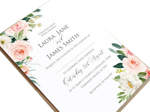 Blush and Gold Wedding Invitations, Pink Watercolour flowers, Blush Wedding, 10 Pack
