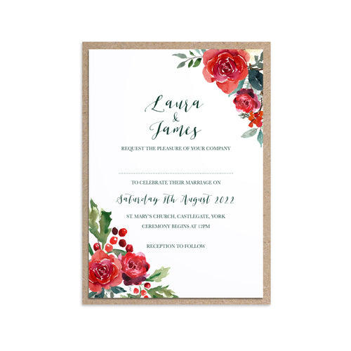 Winter Rose Wedding Invitations, Corner Floral, Christmas Wedding, Festive Wedding, Holly Wreath, Poinsettia, 10 Pack