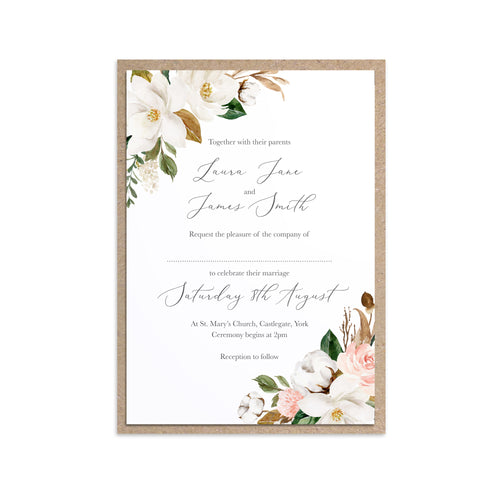 Magnolia Wedding Invitations, Corner Floral, Ivory Floral, Boho Wedding, Cotton Wedding, Autumn Wedding, 10 Pack