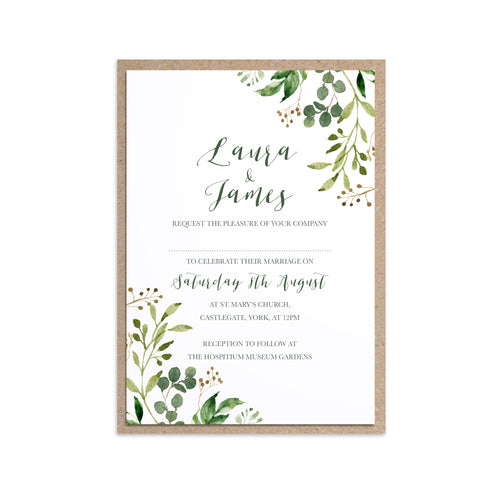 Green Leaf Wedding Invitations, Greenery Corners, Watercolour Foliage, Greenery, Eucalyptus Invites, Green Wreath, Botanical Wedding, 10 Pack