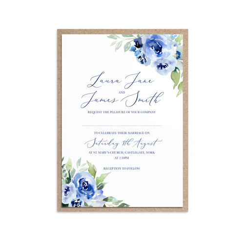 Navy Rose Wedding Invitations, Watercolour roses, Navy Wedding, Blue Wedding, 10 Pack