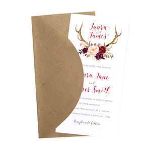 Boho Floral Antler Wedding Invitations, Rustic Wedding Invitation, Floral Wedding Invitation, Red Rose, Rustic Country, 10 Pack