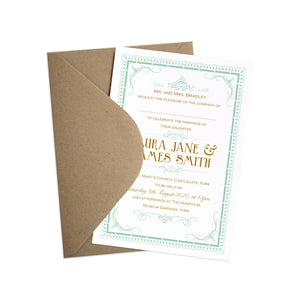 Art Deco Wedding Invitations, 1920s Style, Hollywood, Elegant Invitations, Gatsby Wedding, 10 Pack
