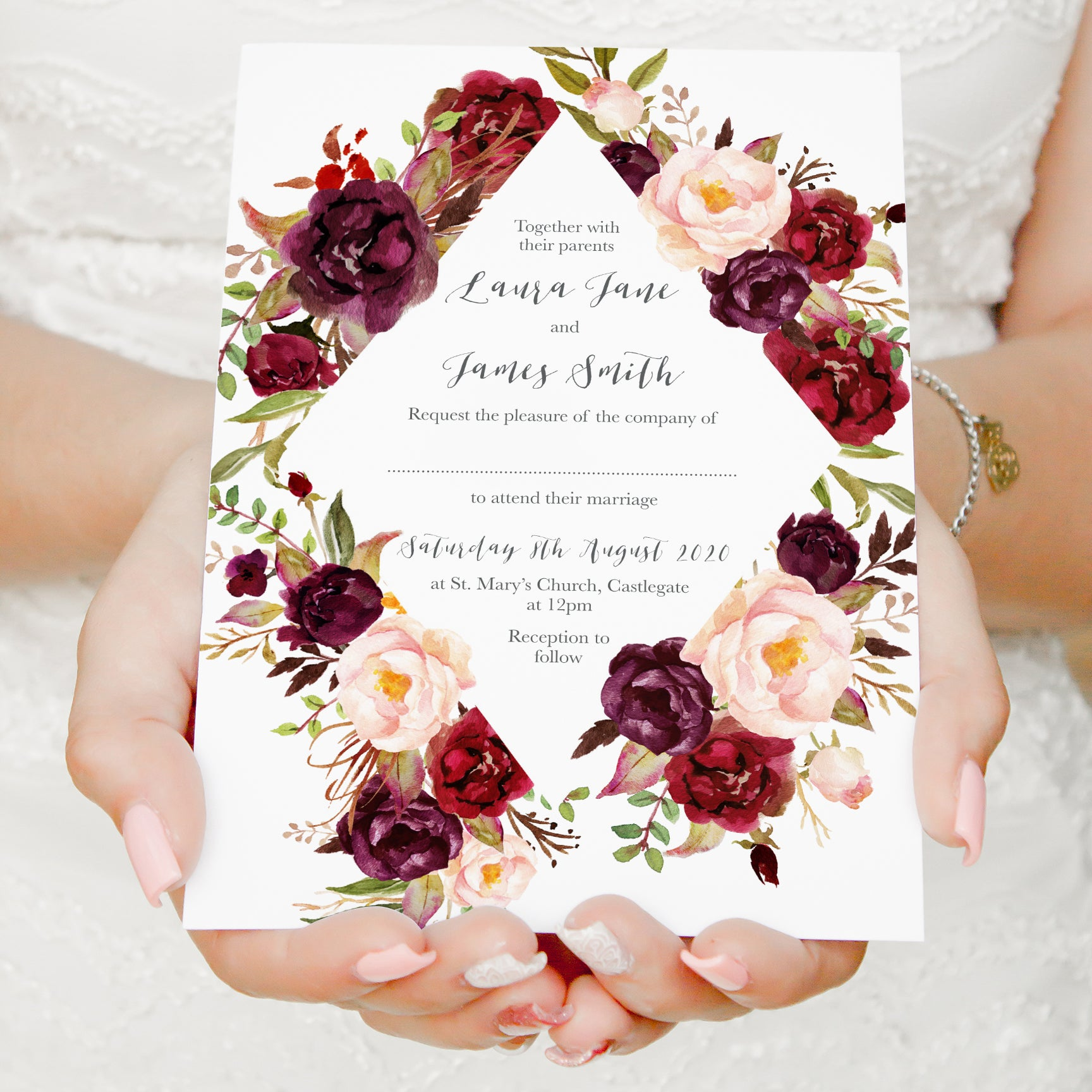 Wedding Invitations With Red Roses: Boho Red Rose Wedding Invitations, Diamond Wreath