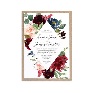 Burgundy, Navy & Blush Floral Wedding Invitations, Diamond Wreath, Burgundy Navy Invite, Rustic Floral, Blush Wedding Invite, Boho Floral Wedding Invite, 10 Pack