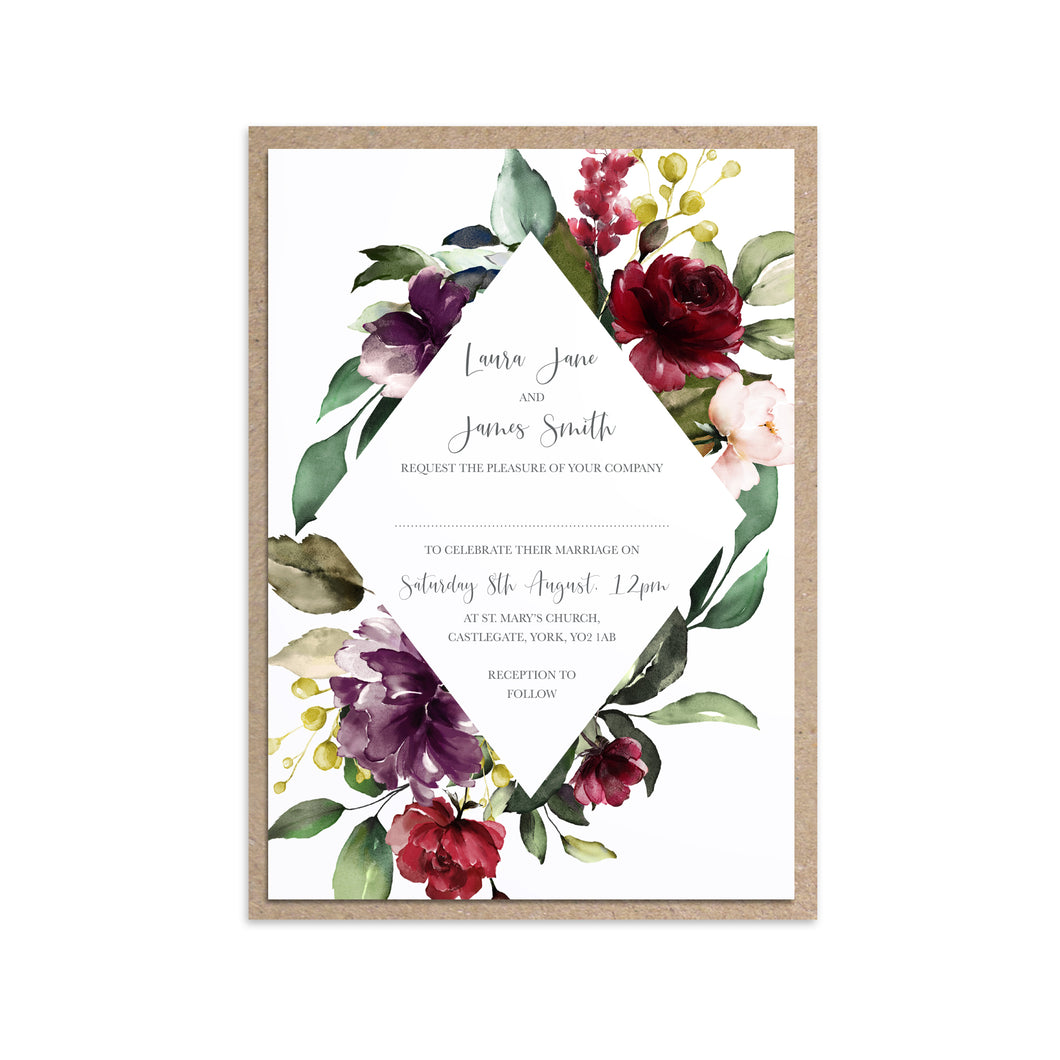 Red and Gold Wedding Invitations, Diamond Wreath, Ruby Red, Burgundy, Blush, Red Floral, 10 Pack