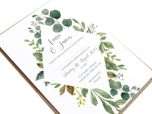 Botanical Garden Wedding Invitations, Diamond Frame, Greenery Wedding, Leaf Wedding, Botanical Wedding, 10 Pack