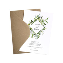 Greenery Wedding Invitations, Diamond Wreath, Green Wreath, Eucalyptus Wreath, Green Leaf, Botanical Wedding, Leaf Invitation, 10 Pack