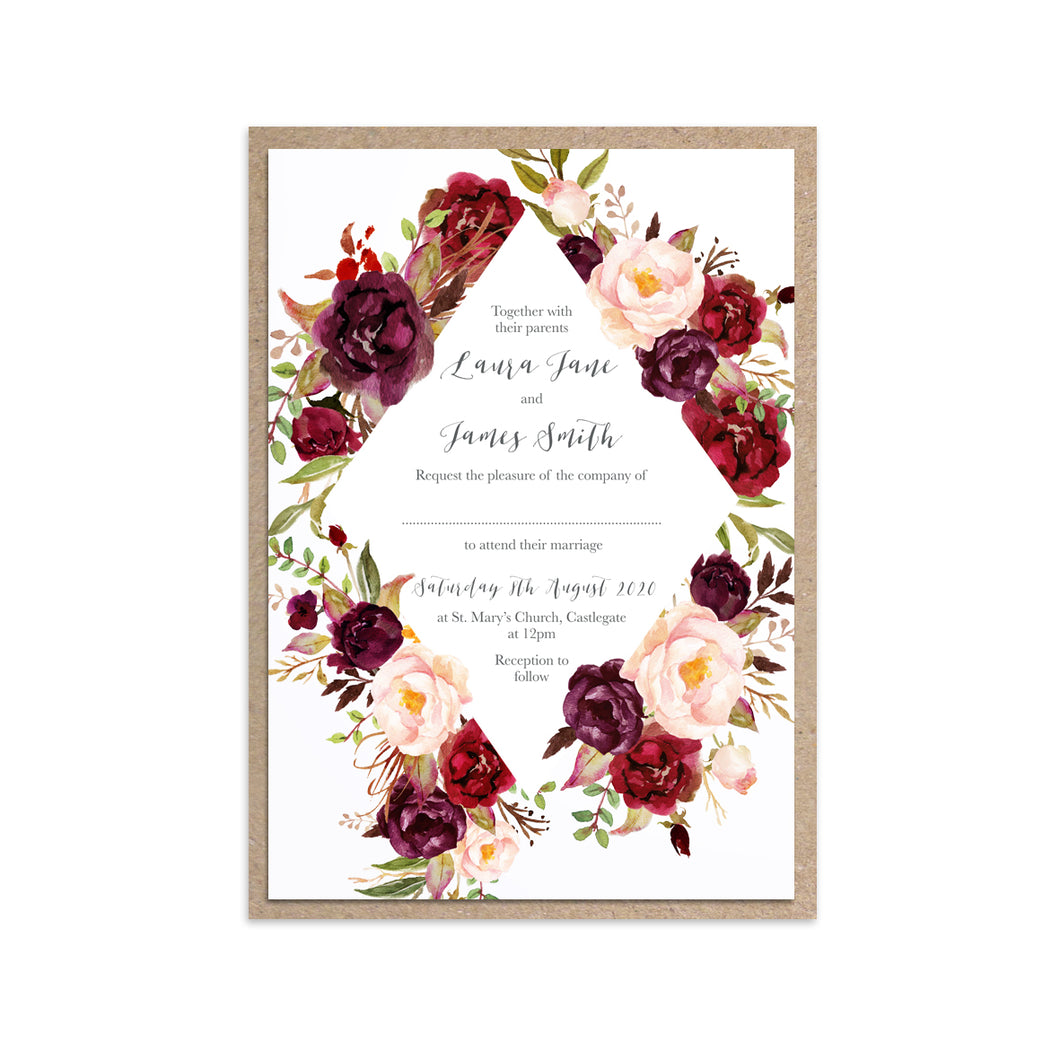 Boho Red Rose Wedding Invitations, Diamond Wreath, Burgundy Invite, Red Roses, Red Wedding, Boho Floral Wedding Invite, 10 Pack