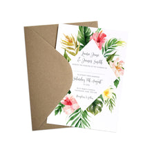 Tropical Floral Wedding Invitations, Beach Wedding, Tropical Wedding, 10 Pack