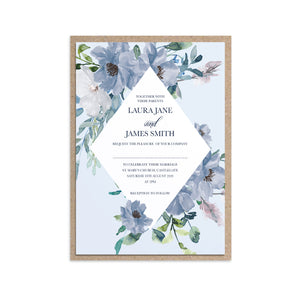 Dusky Blue Floral Wedding Invitations, Diamond Wreath, Blue Floral, Blue Wedding, Navy, Baby Blue, 10 Pack
