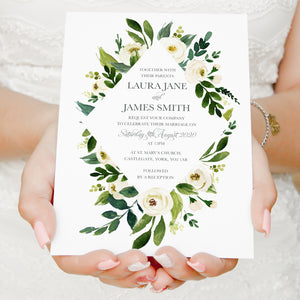 White Wedding Invitations, Diamond, White Floral Watercolour, White Peony, White Rose Invites, Botanical Wedding, 10 Pack