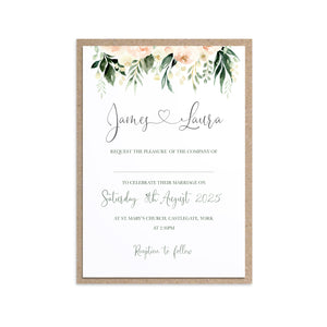 Blush Floral Wedding Invitations, Floral Drop, Blush Wedding, Pink Flowers, Blush Ivory, Botanical, Modern Invitations, 10 Pack