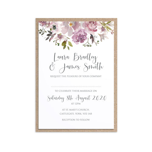 Dusty Rose Wedding Invitations, Floral Drop, Mauve, Dusky Pink, Pink Rose, Blush Wedding, 10 Pack