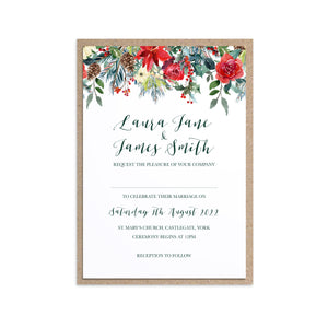 Winter Rose Wedding Invitations, Christmas Wedding, Festive Wedding, Holly Wreath, Poinsettia, 10 Pack