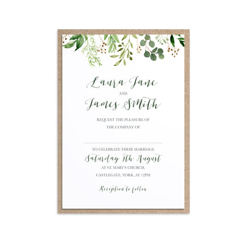 Green Leaf Wedding Invitations, Greenery Drop, Watercolour Foliage, Greenery, Eucalyptus Invites, Green Wreath, Botanical Wedding, 10 Pack