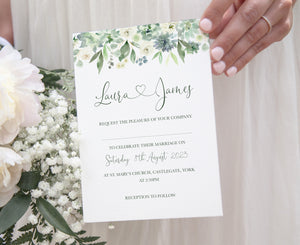 Succulent Floral Wedding Invitations, Floral Drop, Botanical Wedding, Mint Wedding, Eucalyptus, 10 Pack