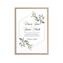 Elegant Geometric Wedding Invitations, Greenery Wedding, Leaf Wedding, Foliage, 10 Pack