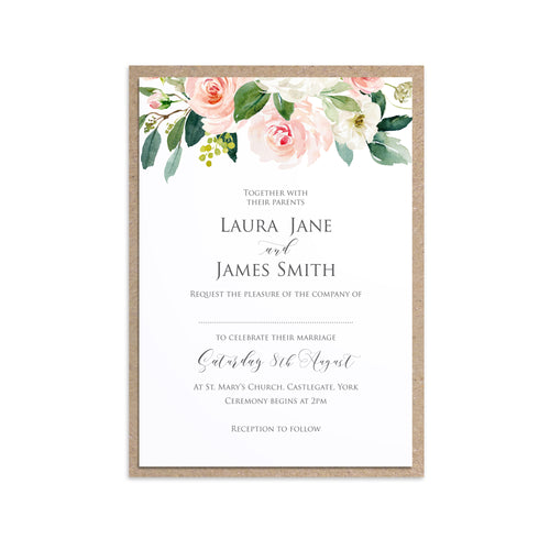 Blush and Gold Wedding Invitations, Floral Drop, Pink Watercolour flowers, Blush Wedding, 10 Pack