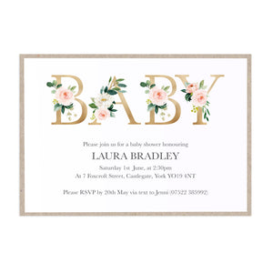 Blush Rose Baby Shower Invitations, Floral Letters, Blush Baby Shower, Blush Flowers, Blush Ivory, 10 Pack