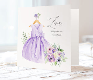 Lilac and Blush Will you be our Flower Girl card, Bridesmaid Proposal, Purple Wedding, Lilac Wedding