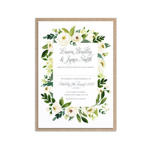 White Wedding Invitations, Floral Frame, White Floral Watercolour, White Peony, White Rose Invites, Botanical Wedding, 10 Pack