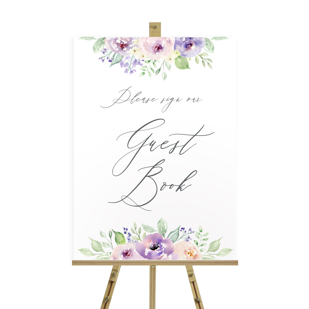 Lilac and Blush Wedding Guest Book Sign, Please Sign Our Guest Book Sign, Purple Wedding, Lilac Wedding, Blush