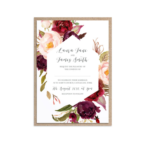 Boho Red Rose Wedding Invitations, Geometric, Burgundy Invite, Red Roses, Red Wedding, Boho Floral Wedding Invite, 10 Pack