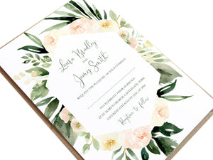 Blush Floral Wedding Invitations, Geometric, Blush Wedding, Pink Flowers, Blush Ivory, Botanical, Modern Invitations, 10 Pack