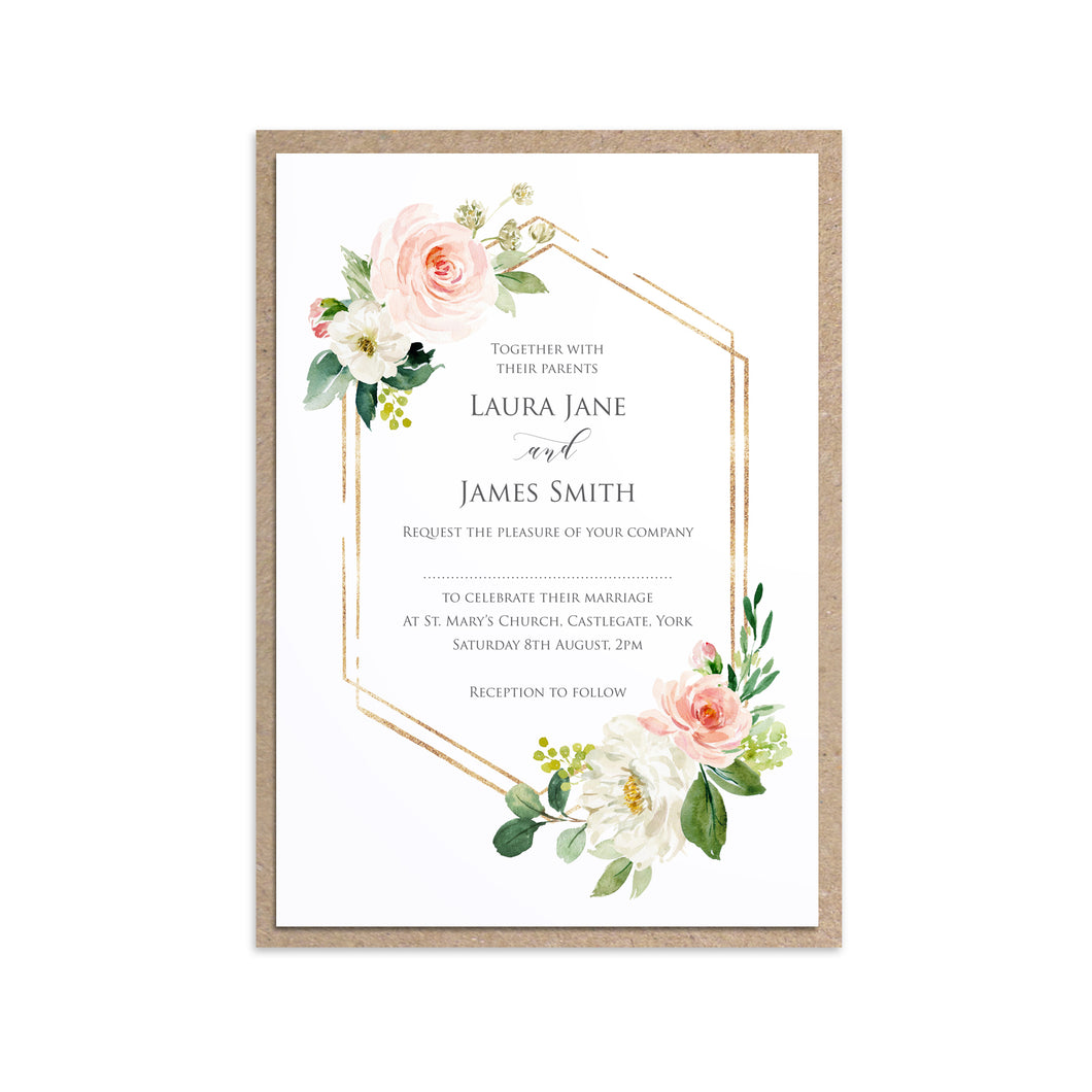 Blush and Gold Wedding Invitations, Hexagon Frame, Pink Watercolour flowers, Blush Wedding, 10 Pack