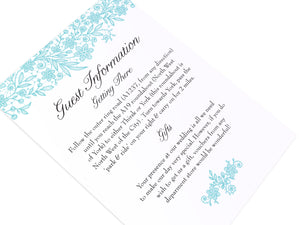 Floral Lace Guest Information Cards, Detail Cards, Wedding Lace, Lace Invitation, Rustic Wedding Invitation, Floral Wedding Invite, Barn Wedding, 10 Pack