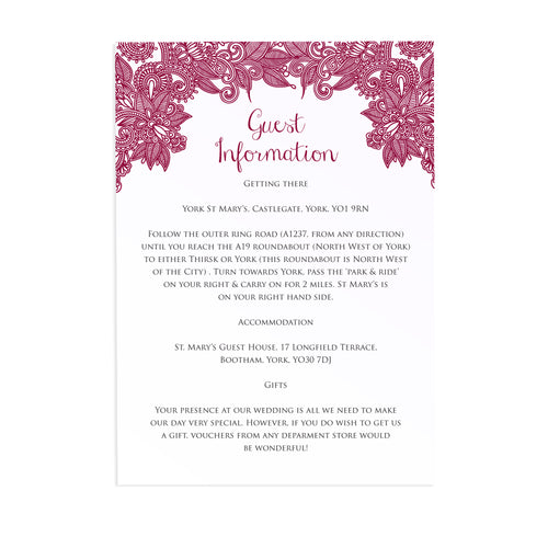 Henna Guest Information Cards, Detail Cards, Indian Wedding, Mehandi, Paisley Wedding Invitation, Henna Invite, Hindi Wedding, 10 Pack