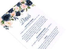 Navy and Blush Guest Information Cards, Detail Cards, Navy Floral, Navy Wedding, Watercolour Flowers, 10 Pack