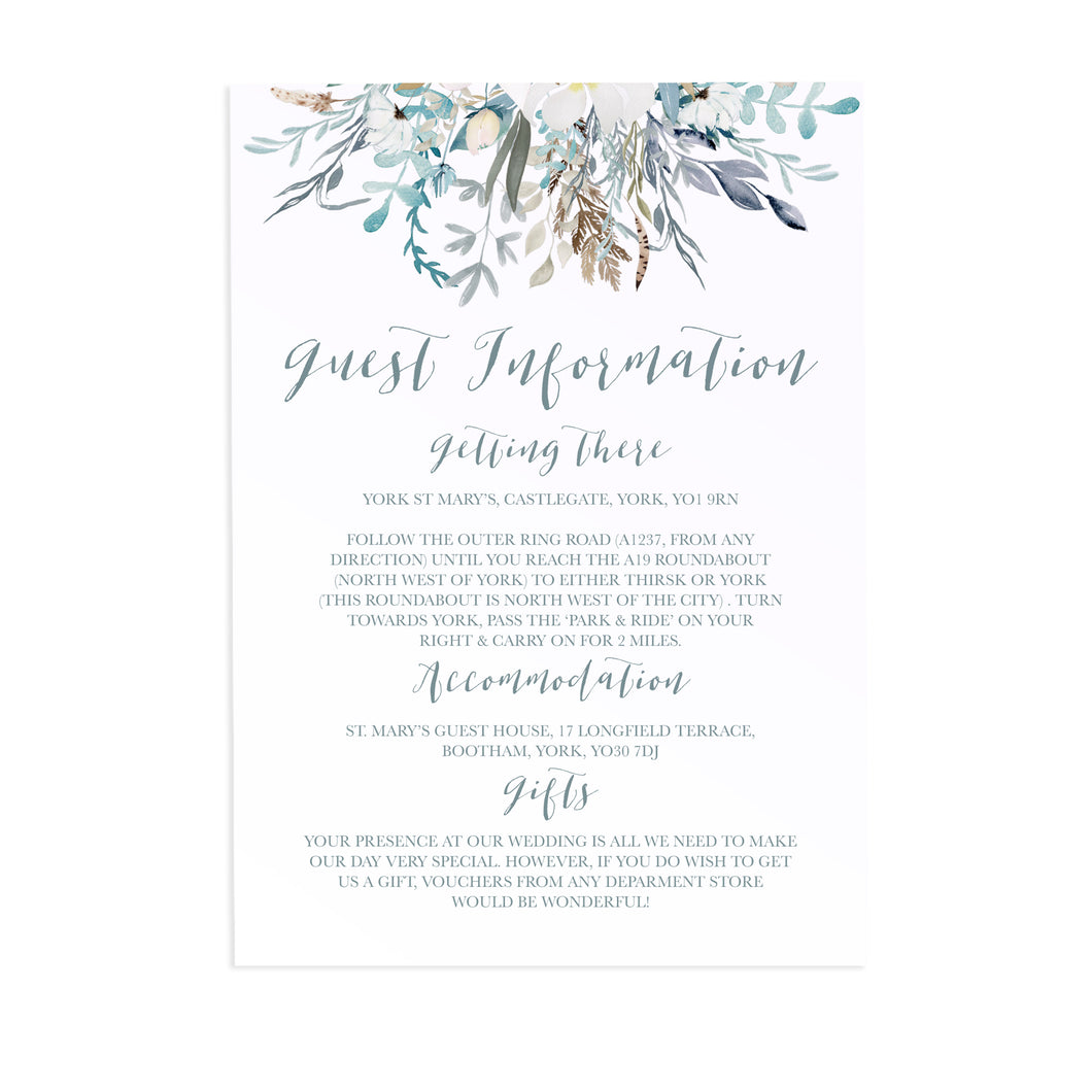 Winter Foliage Guest Information Cards, Detail Cards, Ice Blue Wedding, Winter Wedding, Light Blue, Frozen Wedding, 10 Pack