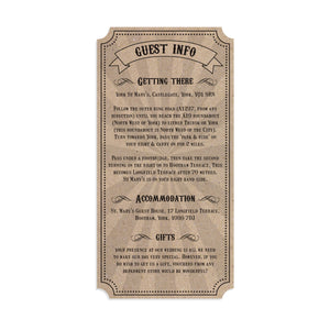 Circus Ticket Guest Information Cards, Detail Cards, Recycled Kraft, Fun Fair, Carnival, Ticket Invitations, 10 Pack