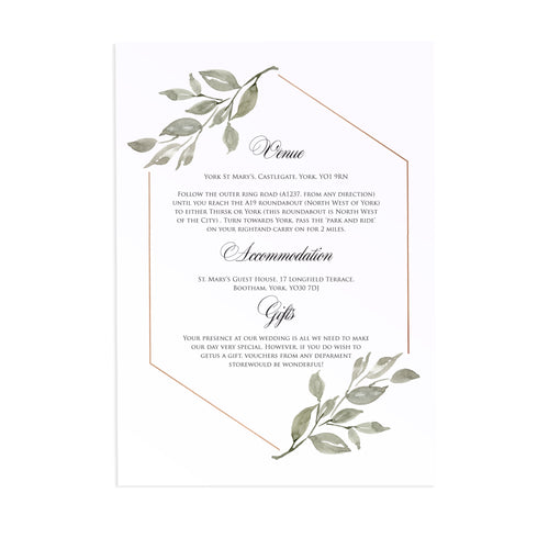Elegant Geometric Guest Information Cards, Detail Cards, Greenery Wedding, Leaf Wedding, Foliage, 10 Pack