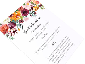 Paprika Guest Information Cards, Detail Cards, Orange Floral Wedding Invitation, Autumn Wedding, Fall Wedding, 10 Pack
