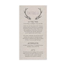 Rustic Antler Guest Information Cards, Detail Cards, Winter Wedding, Boho, Woodland Wedding, Scottish, Highland, 10 Pack
