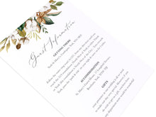 Magnolia Guest Information Cards, Detail Cards, Ivory Floral, Boho Wedding, Cotton Wedding, Autumn Wedding, 10 Pack
