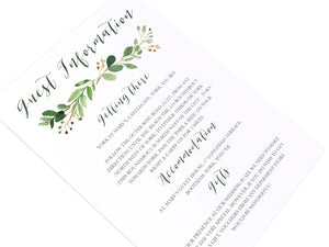 Green Leaf Guest Information Cards, Detail Cards, Watercolour Foliage, Greenery, Eucalyptus Invites, Green Wreath, Botanical Wedding, 10 Pack