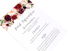Boho Red Rose Guest Information Cards, Detail Cards, Burgundy Invite, Red Roses, Red Wedding, Boho Floral Wedding, 10 Pack