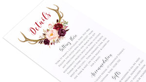 Boho Floral Antler Guest Information Cards, Detail Cards, Rustic Wedding Invitation, Floral Wedding Invitation, Red Rose, Rustic Country, 10 Pack
